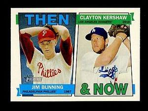 2016 Topps Heritage Baseball  Then & Now #TAN-BK  Jim Bunning  Clayton Kershaw