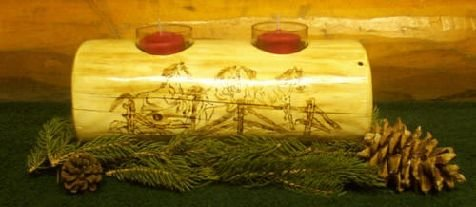 Timber Double votive candle holder