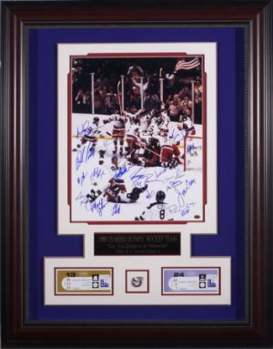 MIRACLE ON ICE TEAM SIGNED CUSTOM FRAMED DISPLAY