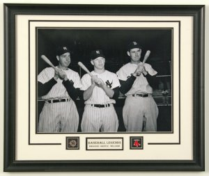 MANTLE - WILLIAMS - DIMAGGIO CUSTOM FRAMED ORIGINAL PHOTOGRAPH