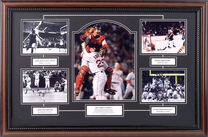 NEW ENGLAND'S GREATEST SPORTS MOMENTS CUSTOM FRAMED COLLAGE
