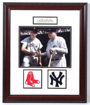 TED WILLIAMS AND BABE RUTH CUSTOM FRAMED 2-PATCH COLLAGE