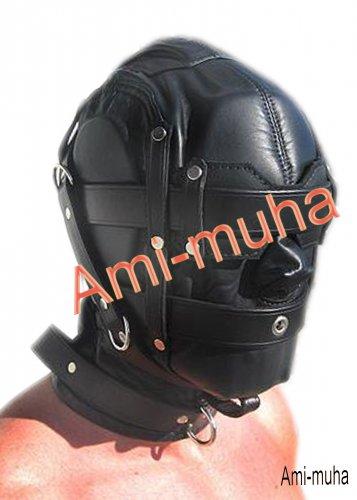 Heavy Duty Leather Bondage Hood