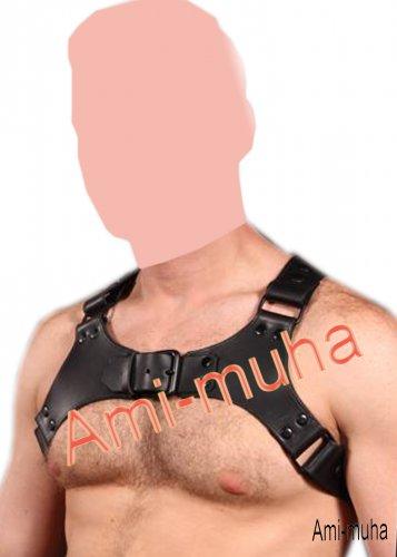 Men's Leather Black Body Harness