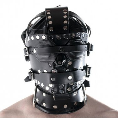 PURE LEATHER Bondage Rivets Head hood with Blindfold and Locking Mouth