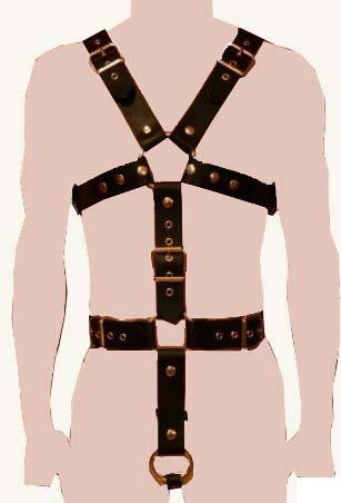 Adult Men's Black Body Chest Harness H2