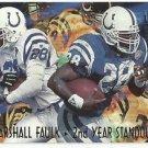 1995  Fleer Ultra  2nd Year Standouts Insert  # 5   Marshall Faulk  HOF'er