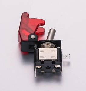 APS RED LED LIT TOGGLE SWITCH WITH RED SAFETY COVER AUTO CAR TRUCK ASW-07D-RED