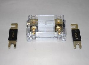 APS GOLD PLATED ANL FUSE HOLDER 0 or 2 GAUGE CAR AMP INSTALL FREE ANL FUSE 150A