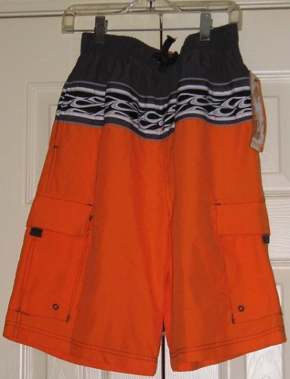 NEW Urban Pipeline Boys Swimsuit Swim Suit Orange with Graphics Sz  Large