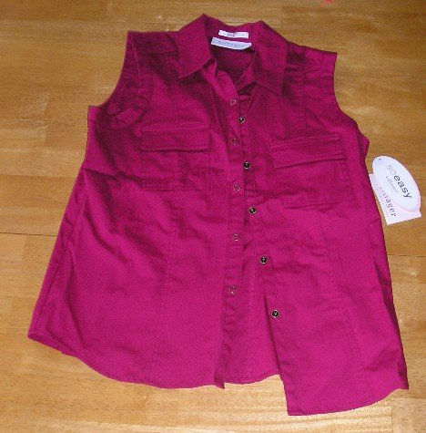 Villager Brand Womens Teens Girls Sleeveless Button Front Top NEW Size Small