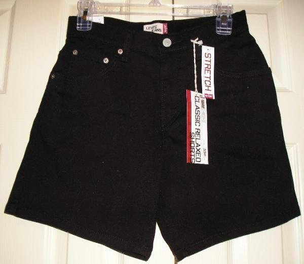 NEW Levi's Levi LEVIS Black Jean Shorts Womens Juniors 4