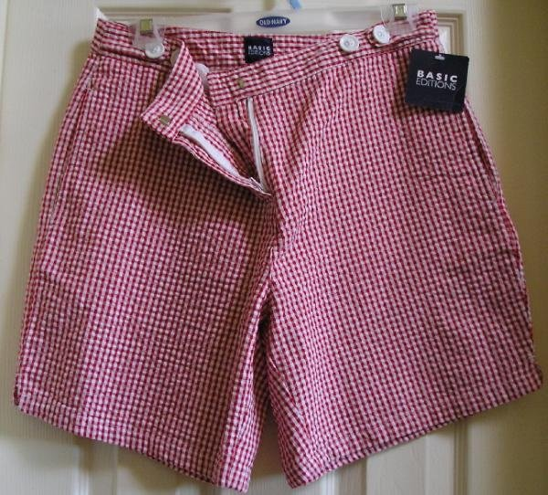 New Womens Shorts Sz. 6 Womens Basic Editions Red White Mini Plaid