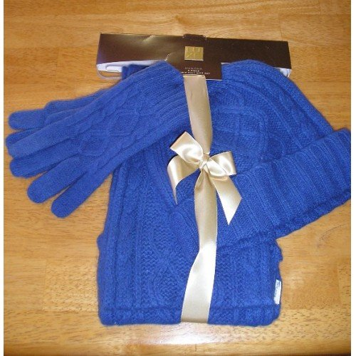 NEW Winter Warm Set HAT GLOVES SCARF - BLUE GIFT!