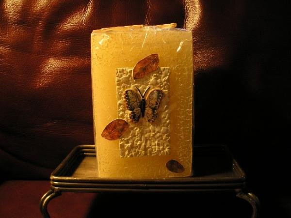 NEW Tall Square Butterfly Candle Neutral Colors GREAT!