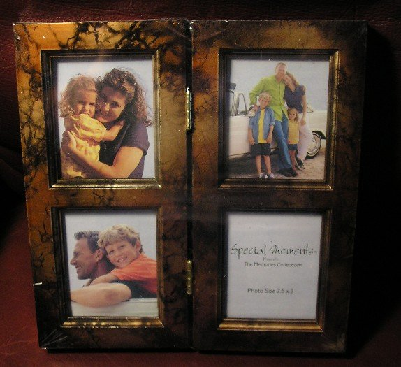 NEW Black & Gold Picture Frame - Holds 4 Pictures GIFT!