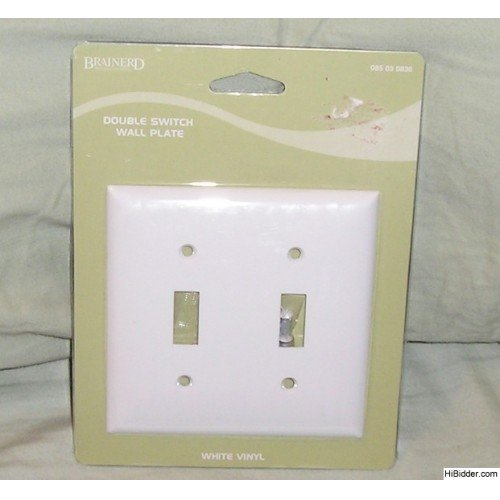 Brainerd Set of 2 White Double Switch Wall Plate Covers NEW