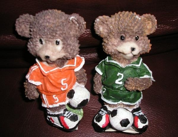 2 Piece Lot Bear Soccer Player Statues - CUTE & NEW!