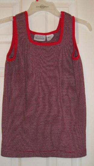 Womens Teens Tank Top Red/Black Stripes Like NEW!