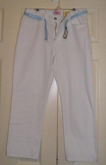 NEW ZENA White Capri Capris Jeans Size 6 + BONUS BELT!