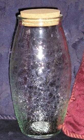 New Old Stock Etched Tall Glass Vintage Bottle or Jar Multi Use!