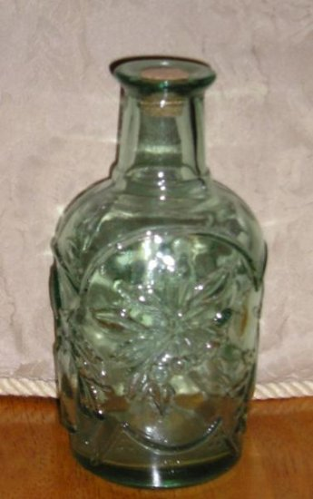 Vintage Green Glass Bottle Never USED Nice Tall
