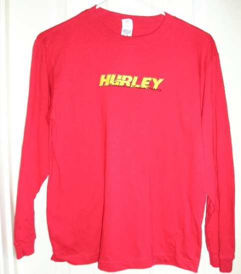 Boys Skate Shirt Hurley Long Sleeve RED Sz Large NEW