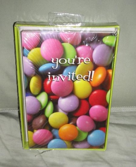 Party Invitations 10 + Envelopes M&Ms You're Invited!