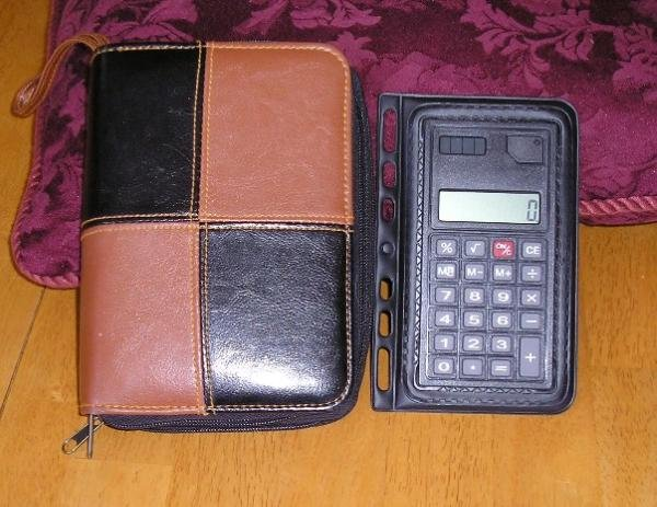 Like New Purse Size Planner Organizer + Bonus - Leather Look!!