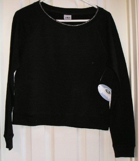 New Athletic Works Black Glitter TShirt T-Shirt Medium STRETCH Great Style
