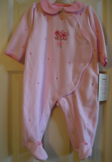 NEW Carters One Pc 9 Mo Baby Girls Outfit PINK Floral Easy On and OFF LOW SHIPPING