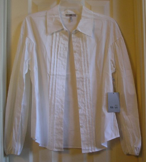 Metro7 White Stretch Blouse Womens Juniors Size Medium Ballon Sleeves Pleats NEW