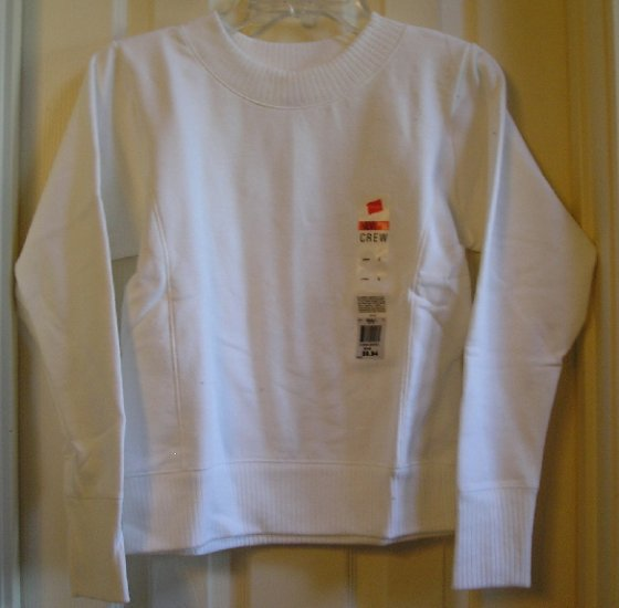 Hanes Waffle Detail White Tagless SweatShirt Small SALE New Style & Fit