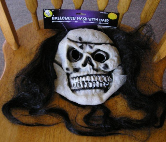 Halloween Skeleton Mask Full Face + Hair NEW Clearance Price