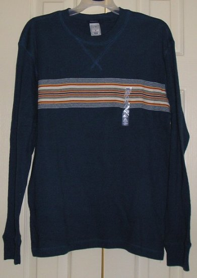 Old Navy Mens Waffle Weave Long Sleeve Shirt Top Small Blue NEW