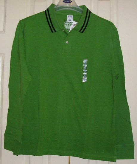 Old Navy Mens Golf Polo Shirt GREEN Large Long Sleeves NEW