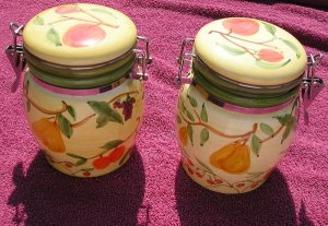2 Air-Tight Tuscany Fruit Canisters Canister Set Vintage EUC