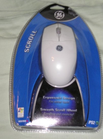 GE Scroll Mouse Ergonomic Design PS2 Compatible Smooth Scroll NEW