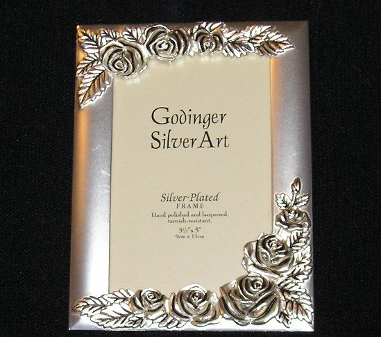 Godinger Silver Carved Rose Picture Frame 3.5 x 5 NEW Old Stock