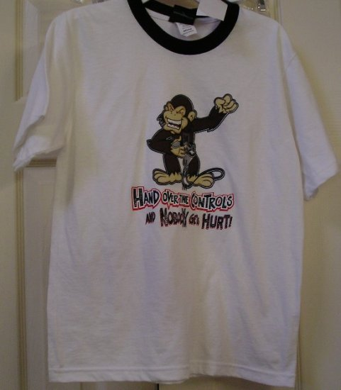 Hybrid White Ringer Style TShirt Monkey Remote Humor Medium Boys T-Shirt NEW