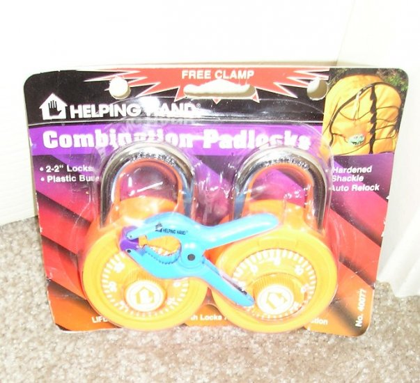 2 Padlock Padlocks Combination Style Orange NEW and Bonus Clamp