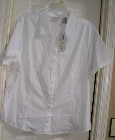 White Stag Womens Misses White Blouse Top 18W/20W NEW