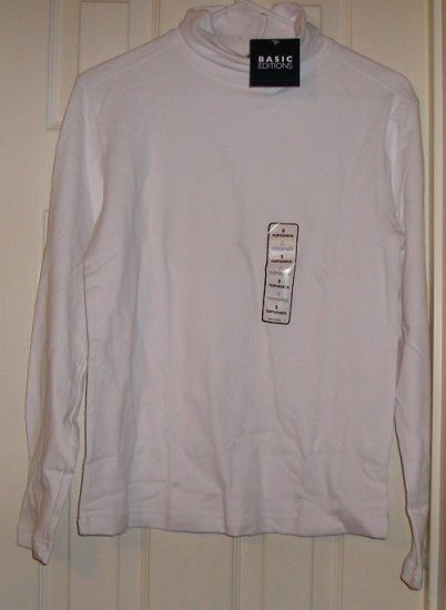 Basic Editions Long Sleeve Womens TurtleNeck Shirt Top Womens Medium NEW