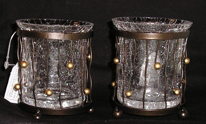 Metal & Glass Votive Candle Holder Holders Pair 2 Pc Lot NEW