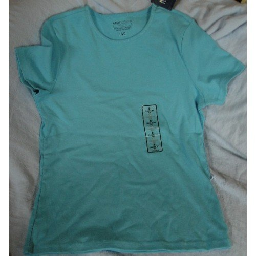 Basic Editions Short Sleeve Tagless Shirt Top Womens Blue Tee Small NEW