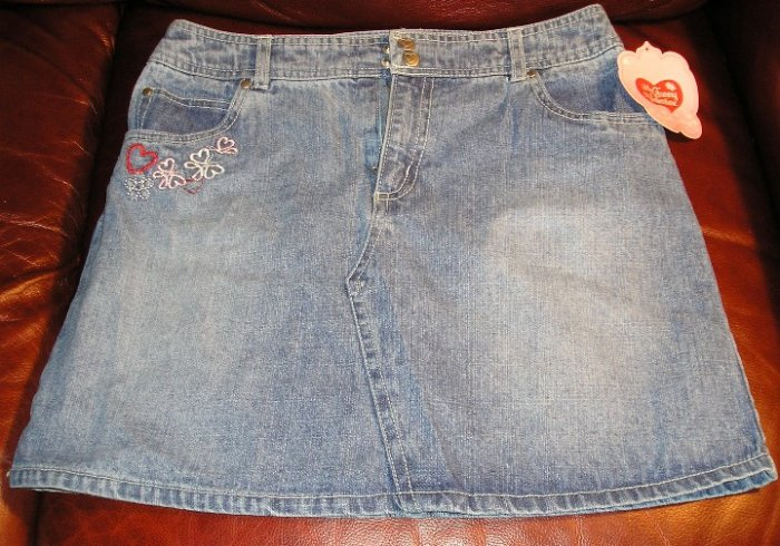 My Funny Valentine Girls Blue Denim Jean Skirt Teens XLarge NEW