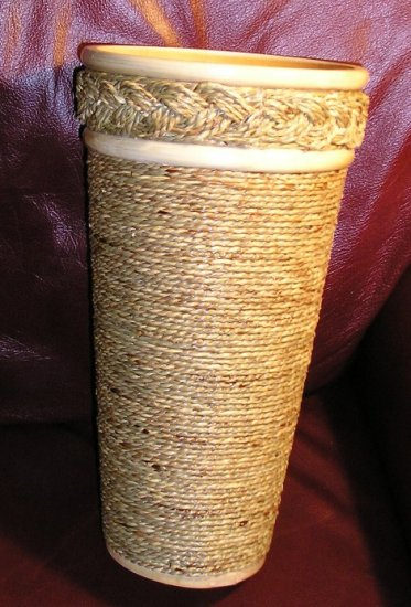 Gail Sanborn Seagrass Sea Grass Vase 12 Inches 2 Tones Blond NEW