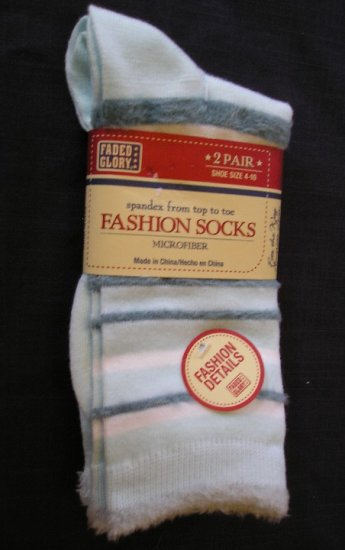 Faded Glory 2 Pair Womens Microfiber Socks Blue with Detail NEW