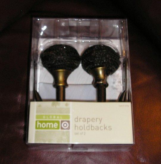 Global Home Drapery Holdbacks 2 Finials Pair Antique Bronze NEW