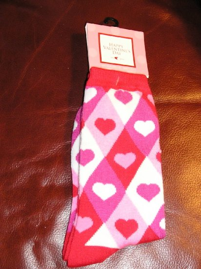 Womens Socks Teens Girls Argyle Pink Hearts NEW
